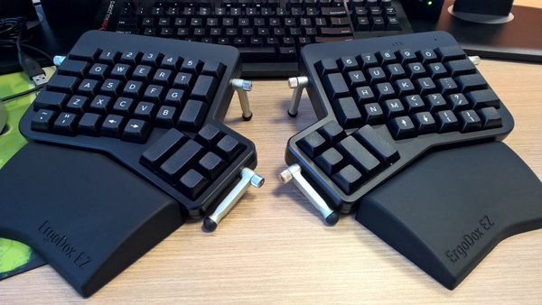 The Ergodox EZ keyboard. Notice the thumb clusters.